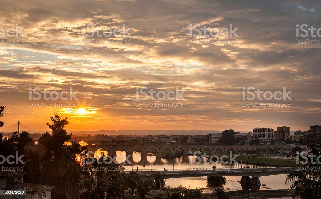 Sunset with Badajoz bridges stock photo