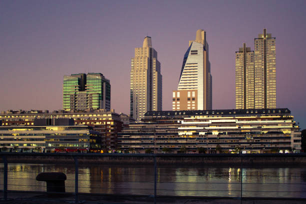 Sunset with buildings in background, Puerto Madero, Buenos Aires, Argentina. stock photo