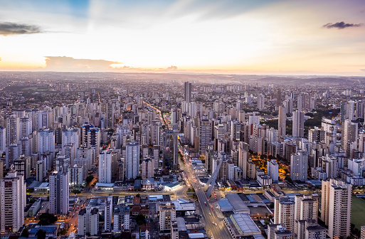 sunset with buildings in the western sector of Goiania, Goiás, Brazil,