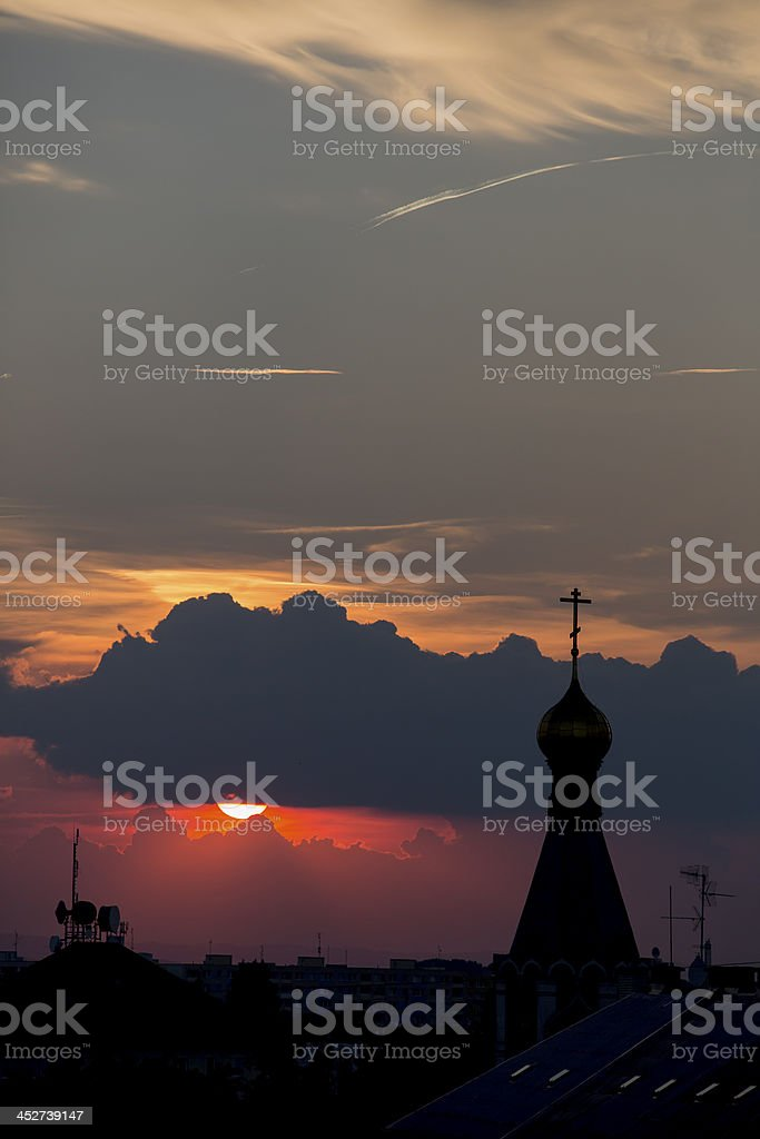 sunset with church royalty-free stock photo