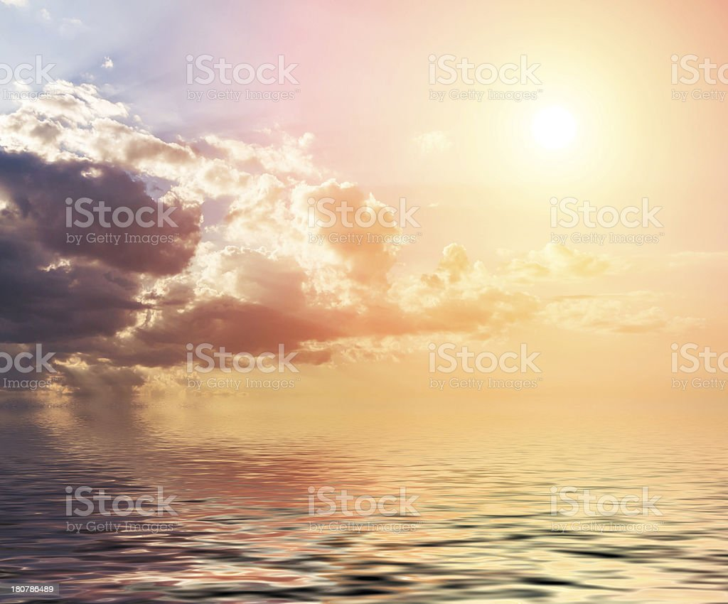 Sunset with clouds. royalty-free stock photo