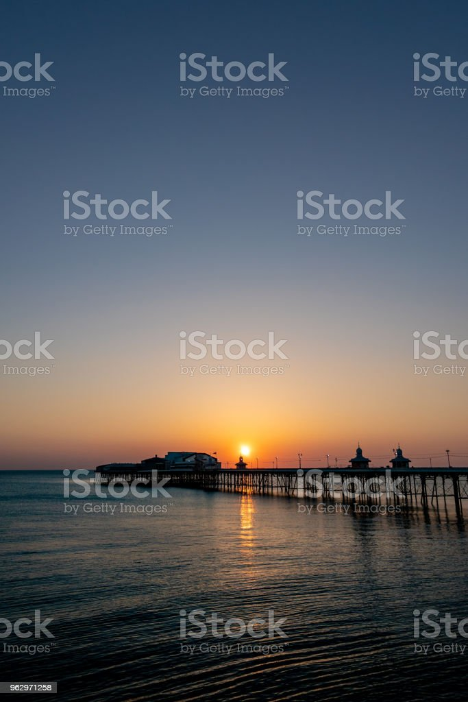 Sunset with dark blue sky in Blackpool, Lancashire stock photo