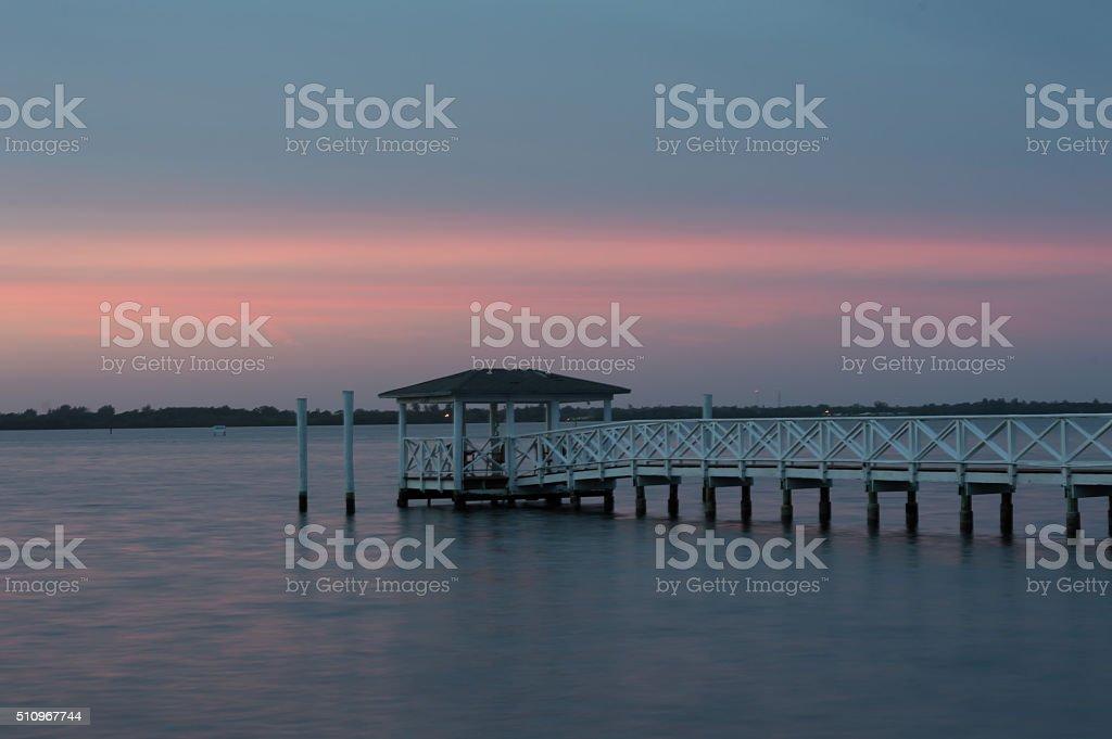 Sunset  with Dock Southwest Florida Caloosahatchee River Fort Myers, Florida stock photo
