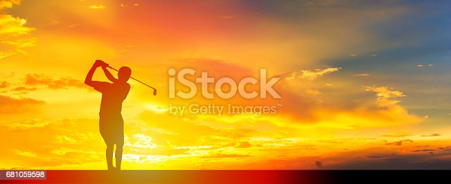 Sunset with Golf player. Panoramic banner.