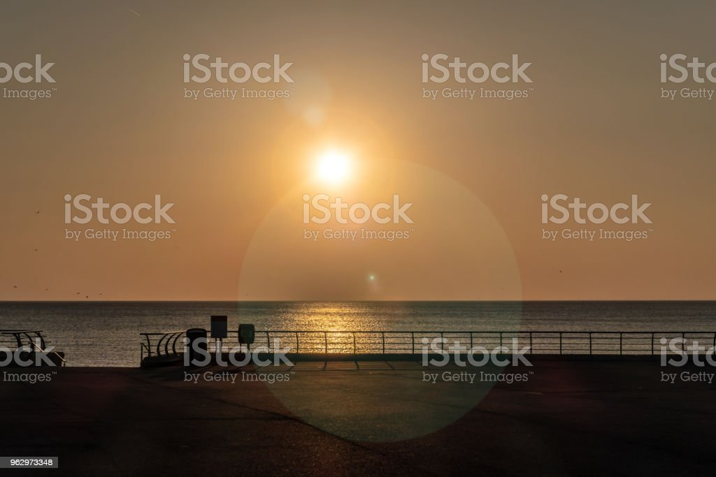 Sunset with lens flare in Blackpool, Lancashire stock photo