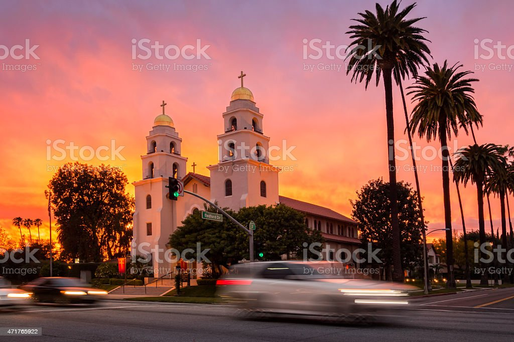 Sunset with Palm Trees in Beverly Hills Los Angeles California stock photo