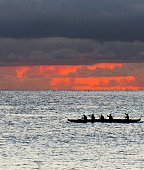 Sunset with sailboats and canoes, Magic Island, Waikiki, Honolulu, HI Oahu