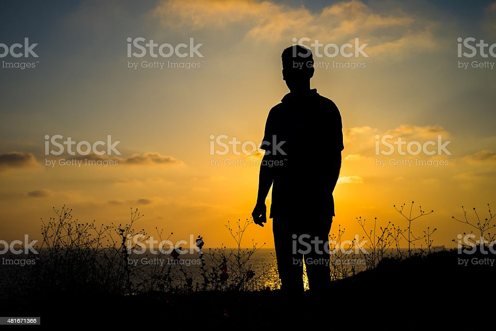 Sunset with silhouette stock photo