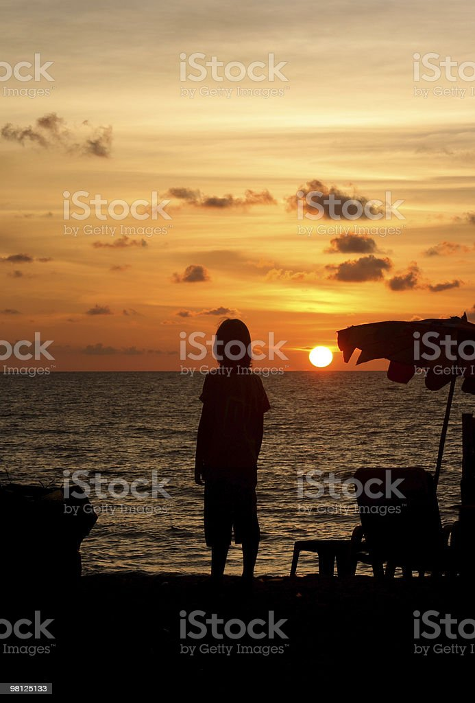 Sunset with silhouette royalty-free stock photo