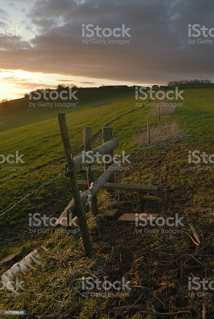 Sunset with stile royalty-free stock photo