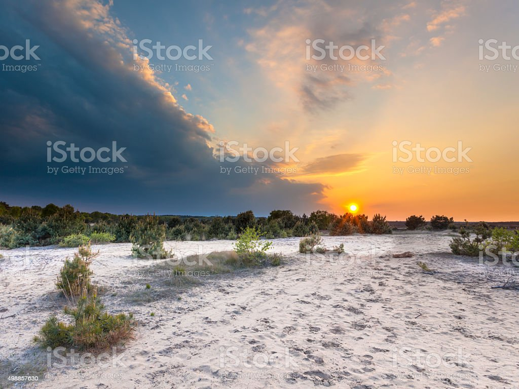 Sunset with Storm Front over Nature Reserve stock photo