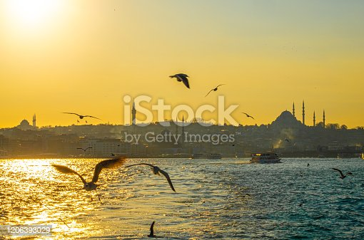 Sunset with sun behind silhouette in Istanbul, golden horn suleymaniye mosque