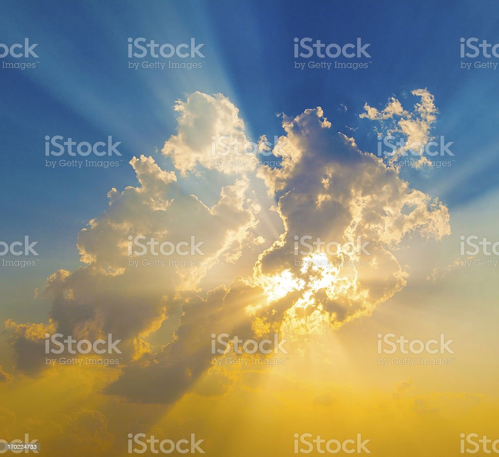 Sunset with sun rays royalty-free stock photo
