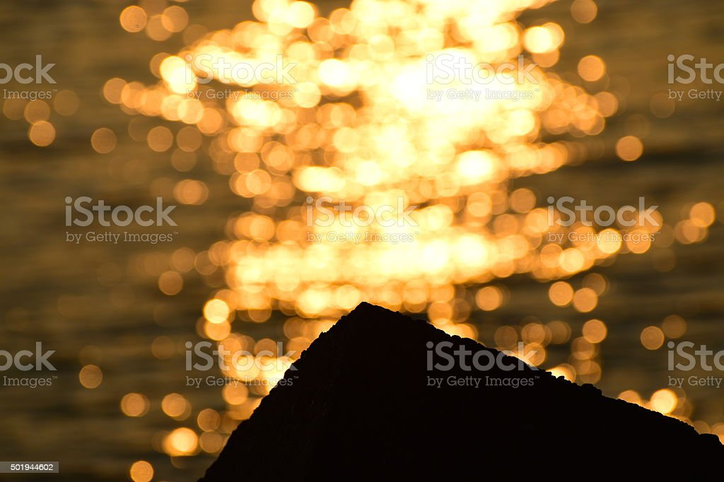 Sunset with sunlight reflection background photograph stock photo