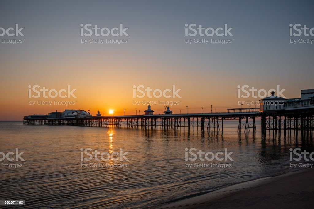 Sunset with the pier in Blackpool, Lancashire stock photo