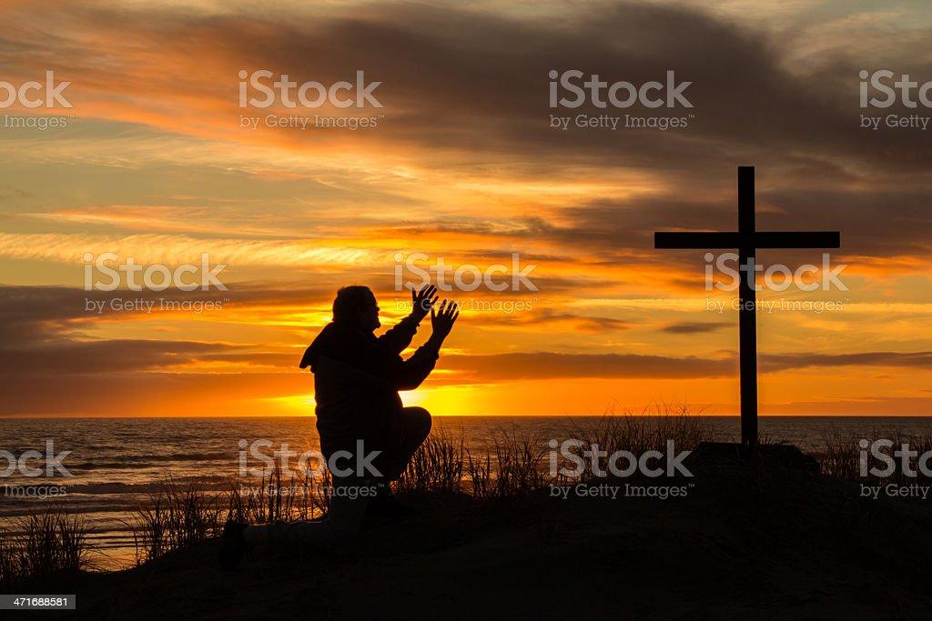 Sunset Worship Man royalty-free stock photo