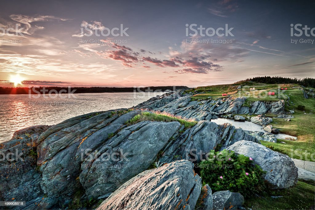 Sunset Yarmouth in Nova Scotia stock photo
