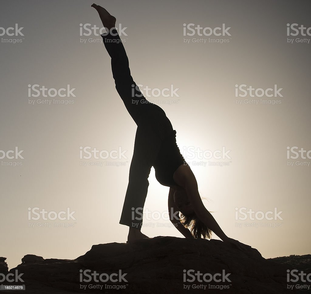 Sunset Yoga stock photo