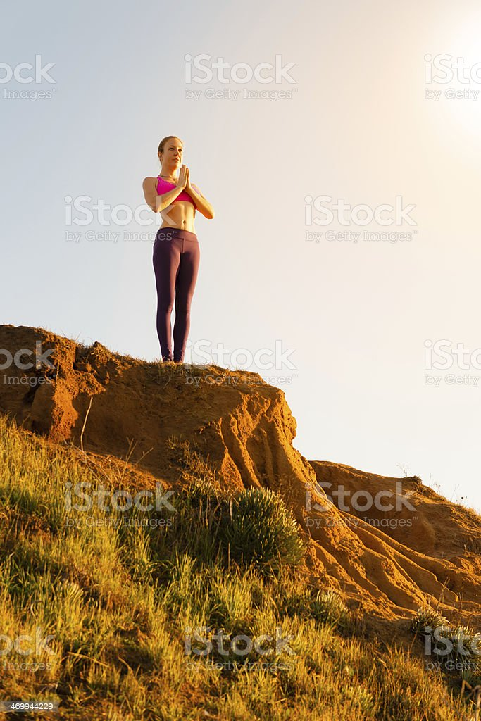 Sunset Yoga royalty-free stock photo