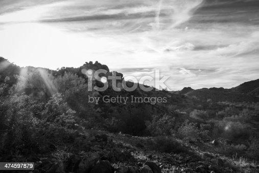 Desert sunset in black and white