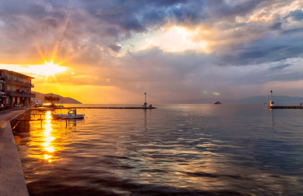 Sunsetin Thassos Town (Limenas), Greece stock photo