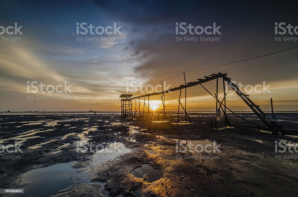 Sunset-jeram beach royalty-free stock photo