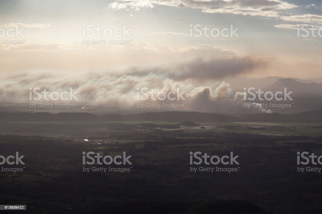 Sunsetting in the mountains stock photo