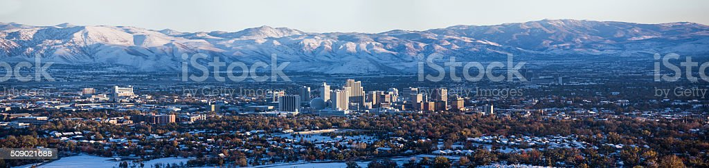 Sunsetting on downtown Reno, Nevada stock photo