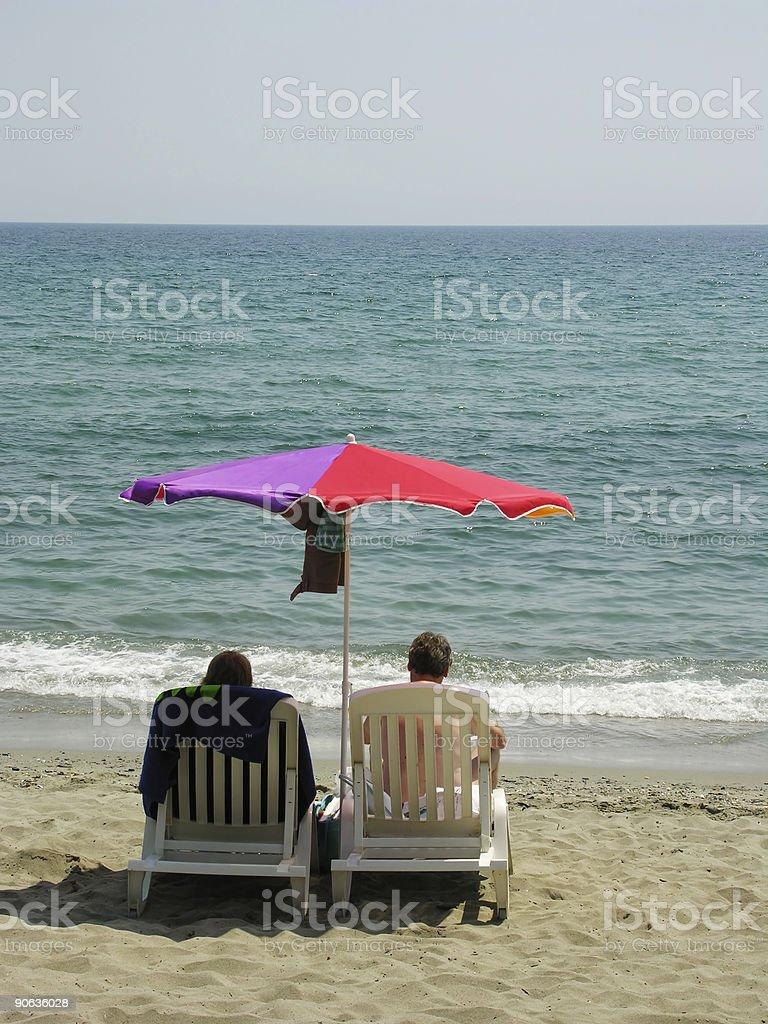 Sunshade by the Sea royalty-free stock photo
