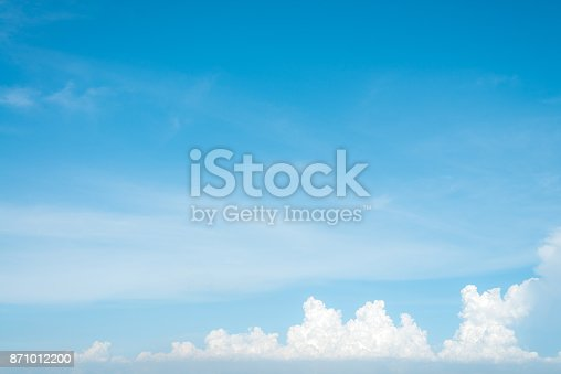 istock Sunshine clouds sky during morning background. Blue,white pastel heaven,soft focus lens flare sunlight. Abstract blurred cyan gradient of peaceful nature. Open view out windows beautiful summer spring 871012200