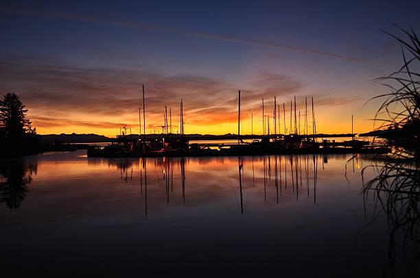 sunshine coast marina sunset - lund stock photos and pictures