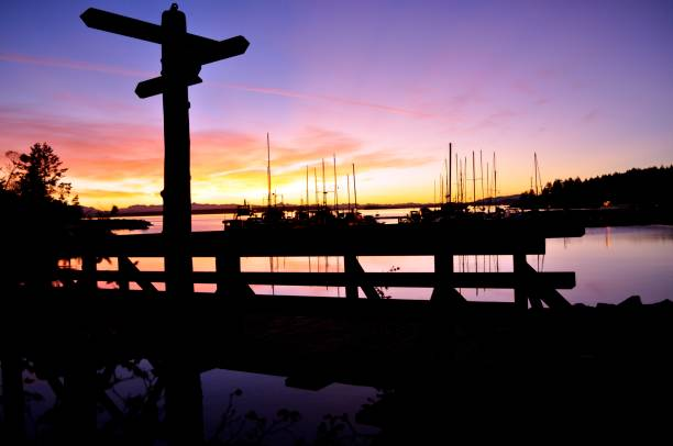 sunshine coast sunset - lund stock photos and pictures