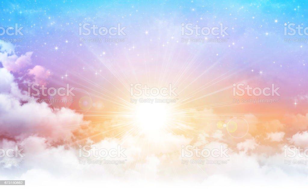 Sunshine in a beautiful sky stock photo