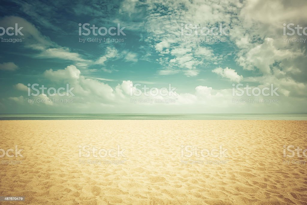 Sunshine on empty beach stock photo