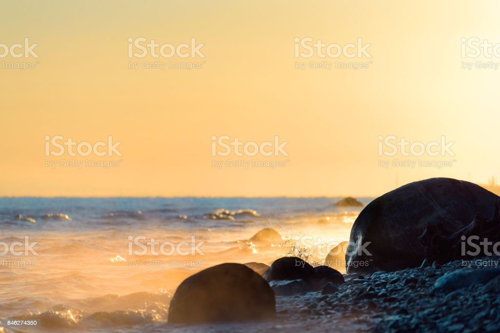 Sunshine on seashore stock photo
