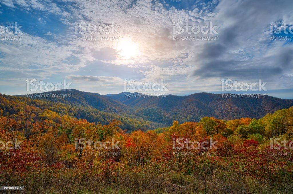 Sunshine on the Shenandoah Mountain range stock photo