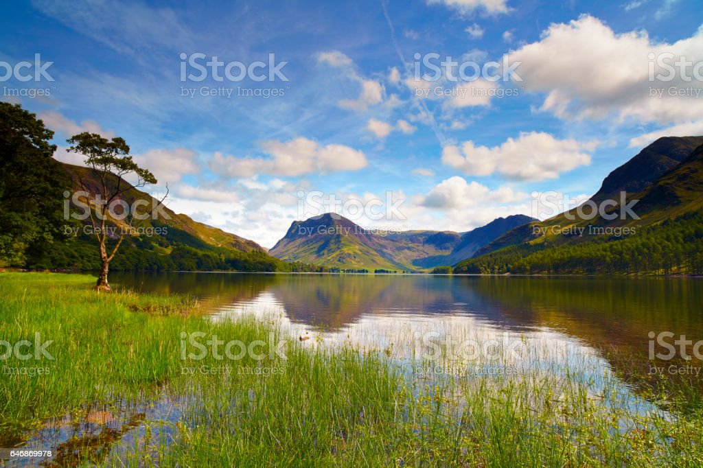 Sunshine Over Buttermere, English Lake District stock photo