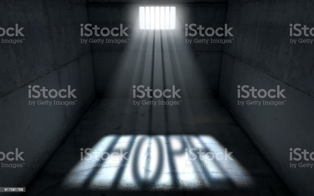 Sunshine Shining In Prison Cell Window stock photo