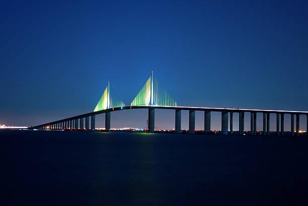 Sunshine Skyway Bridge at night stock photo