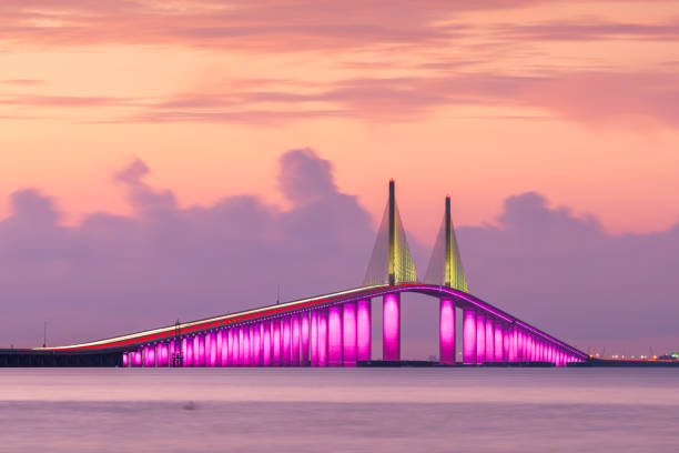 Sunshine Skyway Bridge spanning the Lower Tampa Bay stock photo