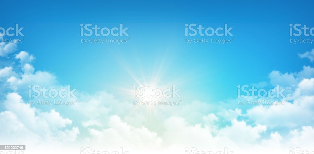 Sunshine through white clouds stock photo