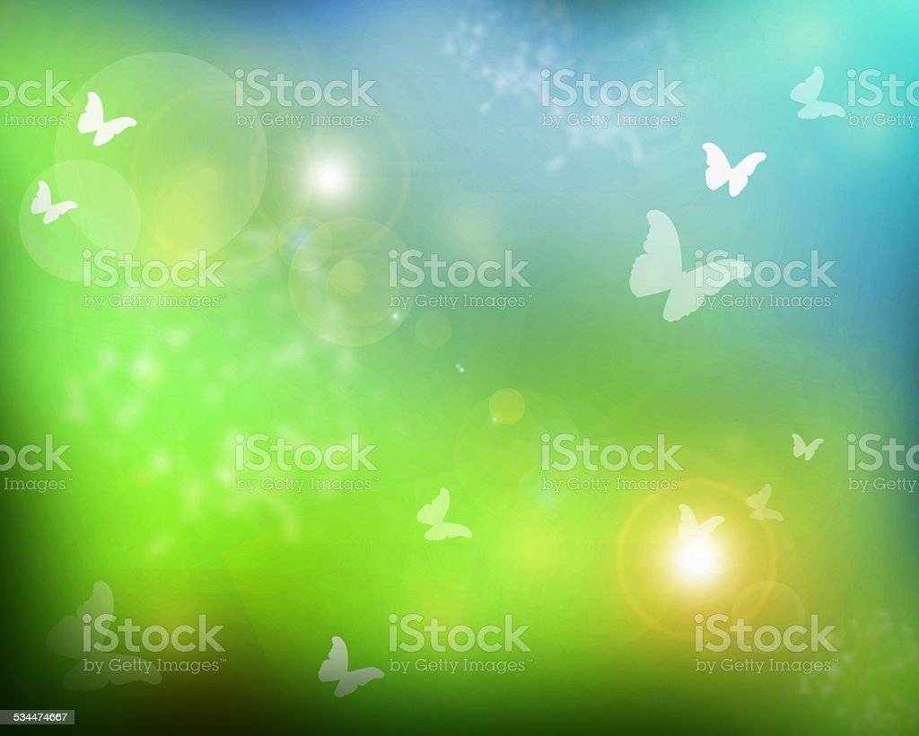 Sunshine with butterflies as abstract lights background stock photo