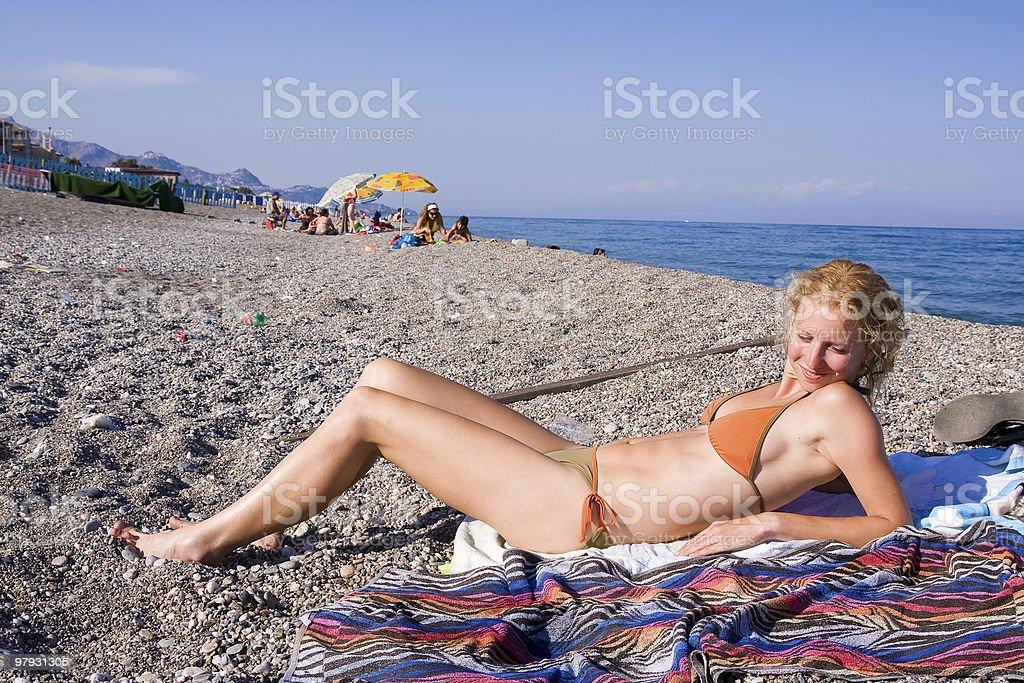 suntanning royalty-free stock photo