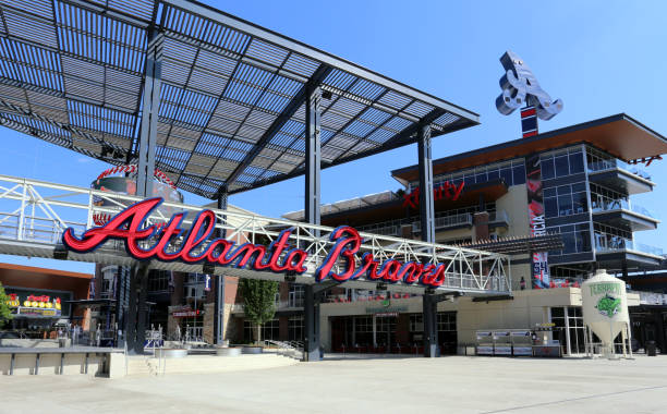 Suntrust Park Atlanta, GA, USA - May 10, 2017: An entrance to Suntrust Park in Atlanta, Georgia. Suntrust Park is a ballpark and the home field of Major League Baseball's Atlanta Braves. major league baseball stock pictures, royalty-free photos & images