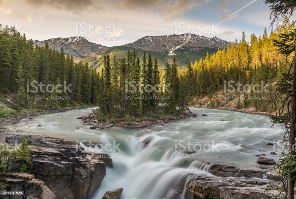 Sunwapta Falls, Canada, Alberta, Jasper National Park, Sunwapta falls stock photo