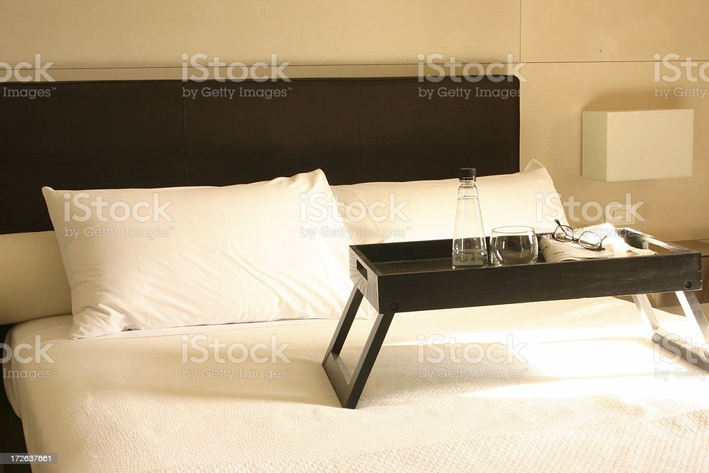 Sunwashed Bed with tray royalty-free stock photo