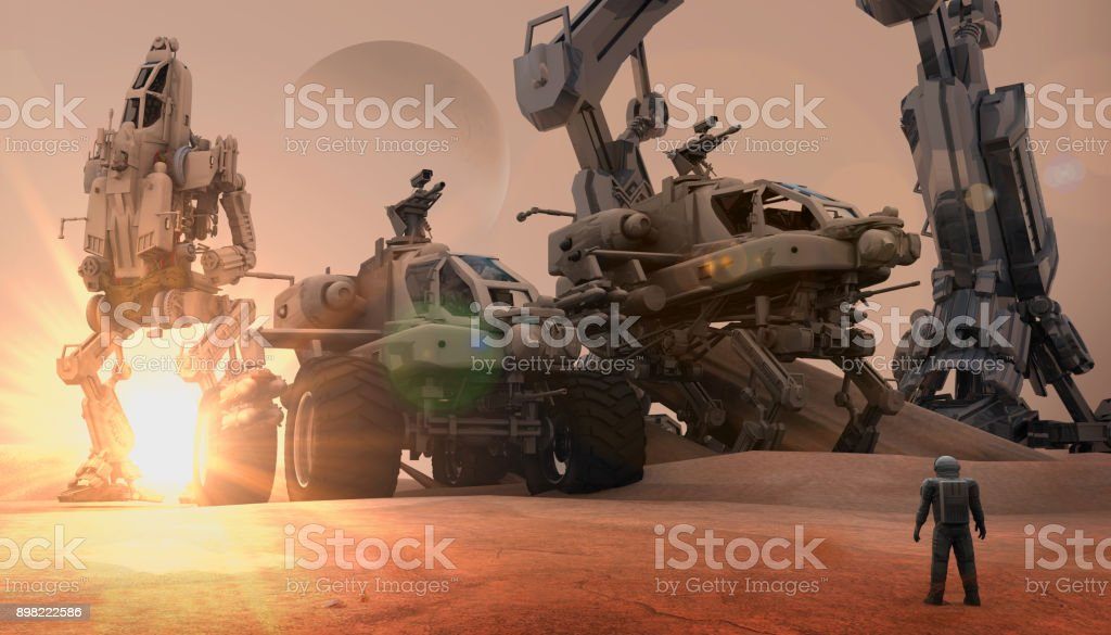 Super Army on The Mars stock photo