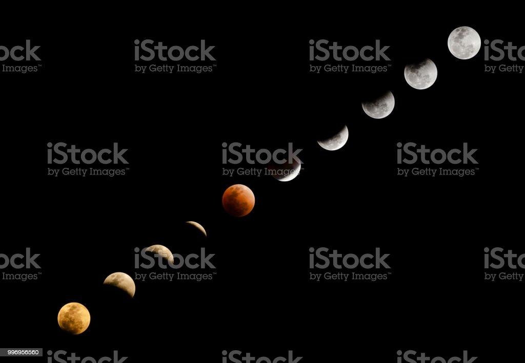 Super blutmondes in roter Farbe und Mondfinsternis in verschiedenen Phrasen vom frühen Abend bis spät in die Nacht auf klaren dunklen Himmelshintergrund mit textfreiraum – Foto