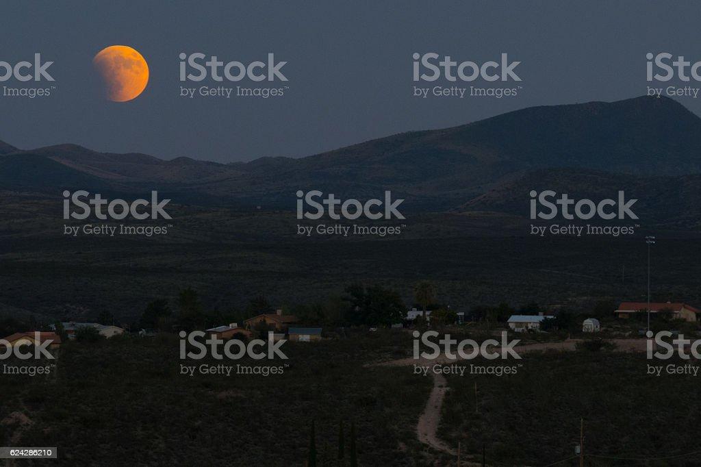 Super Blood Moon Panoramic stock photo