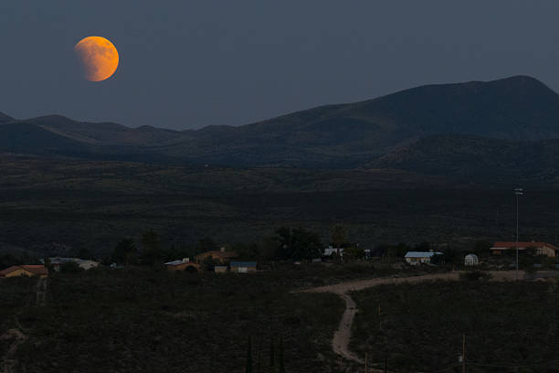Super Blood Moon Panoramic stock photo